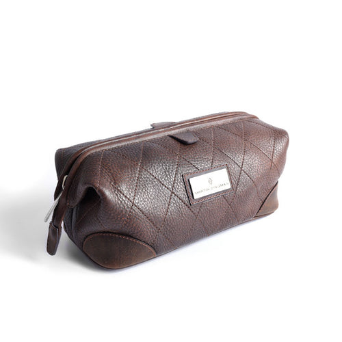 Lodge Shave Case Vintage Finish and Quilted Saddle Leather Bag