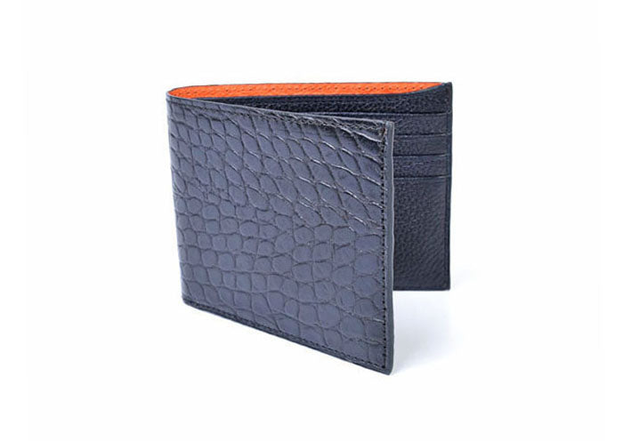 Anthony Hand-Stained Alligator-Grain Billfold - Black