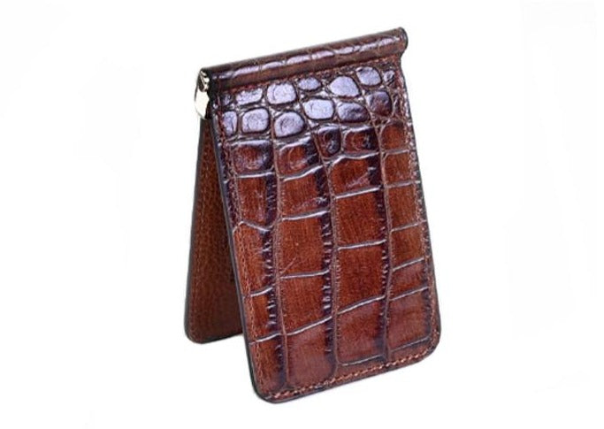 Anthony Hand Stained Alligator Grain Credit Card Money Clip - Brown