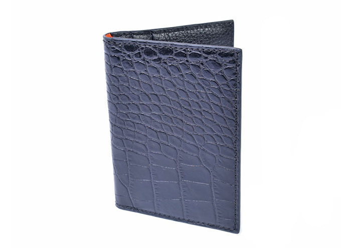 Anthony Hand-Stained Alligator-Grain I.D. Wallet - Black
