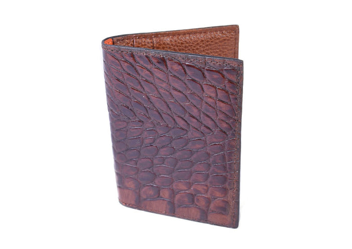 Anthony Hand Stained Alligator Grain I.D. Wallet - Brown