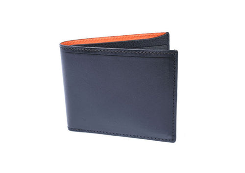 Edward Glazed Saddle Leather Billfold in Black