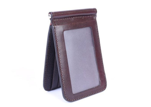 Edward Glazed Saddle Leather Credit Card Money Clip - Chocolate