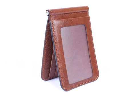 Edward Glazed Saddle Leather Credit Card Money Clip - Saddle Tan