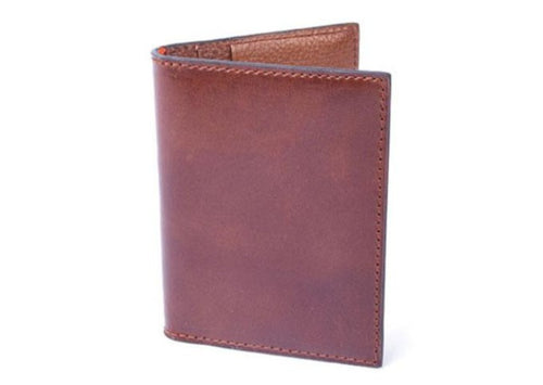 Edward Glazed Saddle Leather I.D. Wallet - Saddle Tan
