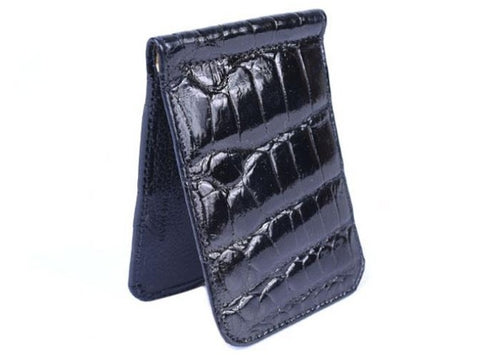 Jefferson Authentic American Alligator Credit Card Money Clip - Black