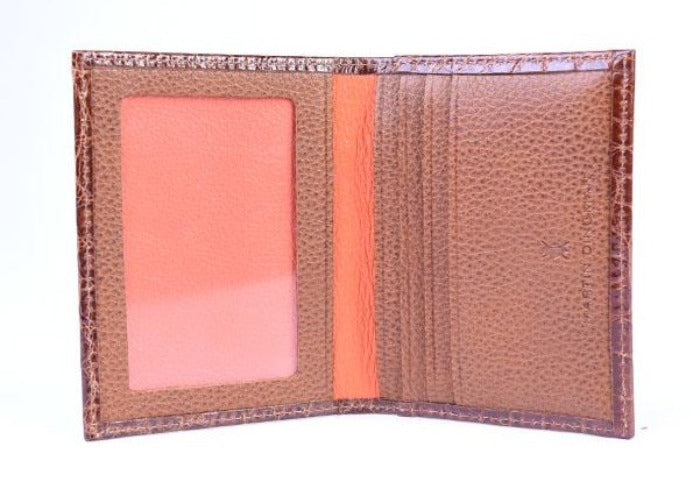 Jefferson Authentic American Alligator I.D. Wallet - Chestnut