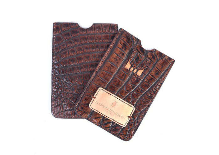 Vintage Alligator Pull Tab Card Case - Walnut