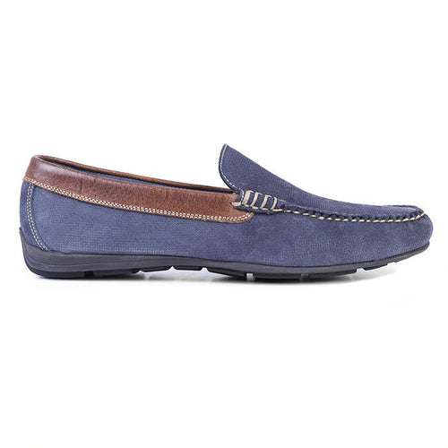 Royal Micro Print Suede Venetian Loafer - Navy