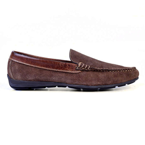 Royal Micro Print Suede Venetian Loafer - Walnut