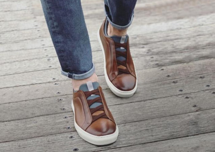 Beckett Hand-Finished Saddle Leather Sneakers - Whiskey