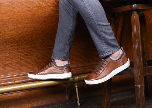 Cameron Hand-Finished Saddle Leather Sneaker - Whiskey