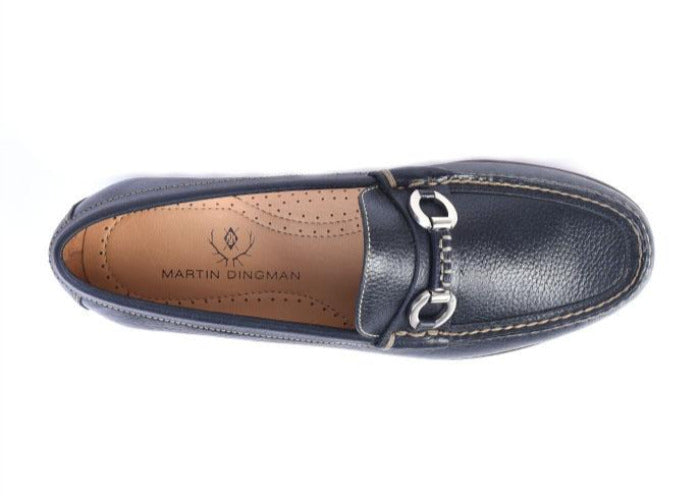 Old Row Tumbled Glove Leather Horse Bit Loafer - Black