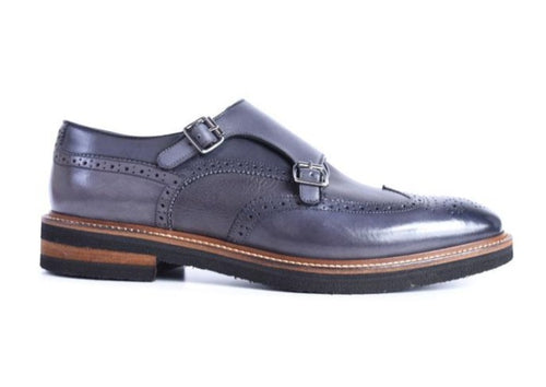 Tuscan Hand Stained Italian Calf Leather Double Monk - Graphite
