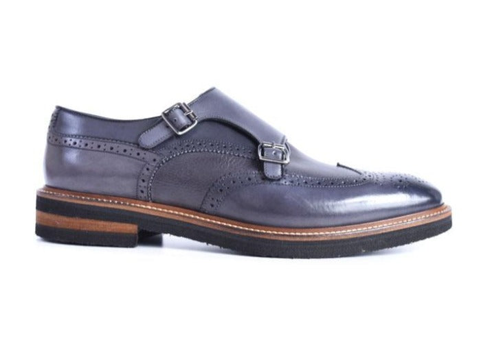 Tuscan Hand-Stained Italian Calf Leather Double Monk - Graphite