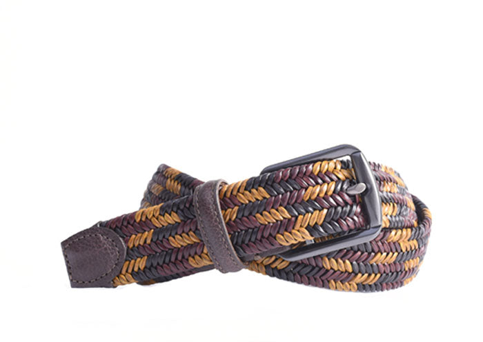 Lucas Braided Italian Saddle Leather Elastic Belt - Walnut Gold