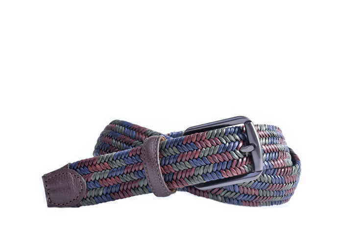 Lucas Braided Italian Saddle Leather Elastic Belt - Navy Green Red