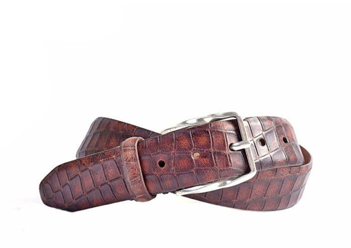 Holmes Alligator Grain Italian Saddle Leather Belt - Acorn