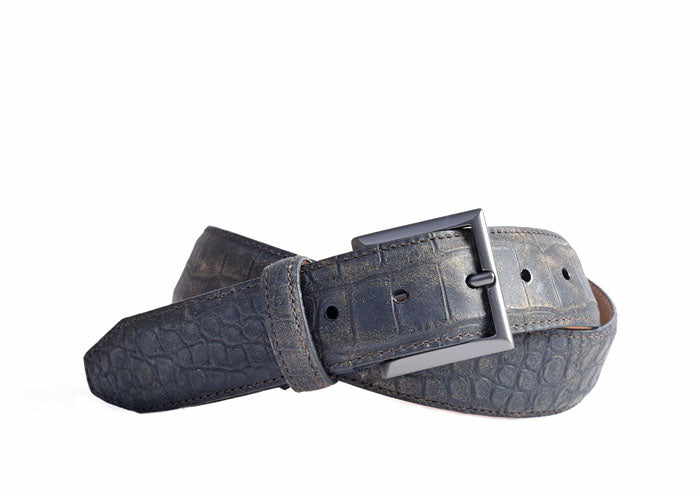 Hollis Waxy Alligator Grain Vintage Italian Saddle Leather Belt - Blackened Oak