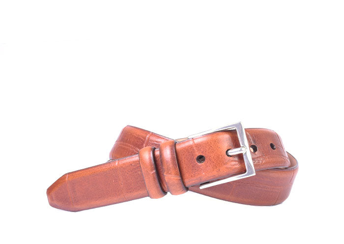 Hayes Giant Vintage Alligator Grain Leather Belt - Chestnut