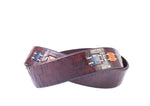 Artisan Inlay Cross-Cut Italian Bridle Leather Belt - Walnut