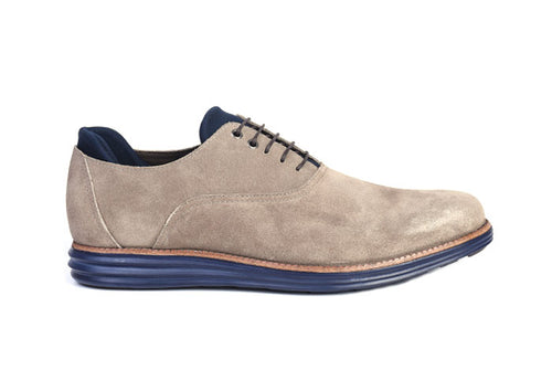 Countryaire Water-Repellent Suede Plain Toe Lace-Up - Stone