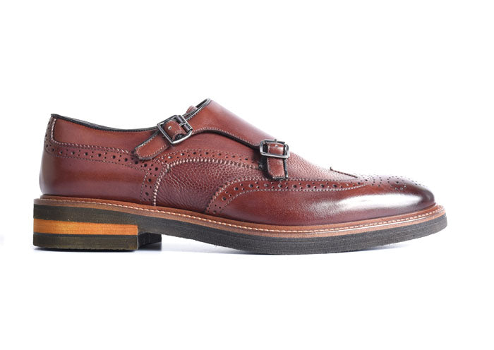 Tuscan Italian Calf Leather Double Monk - Chestnut