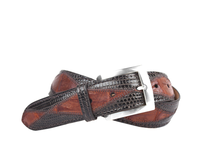 Austin American Alligator & Lizard Leather Belt - Chestnut