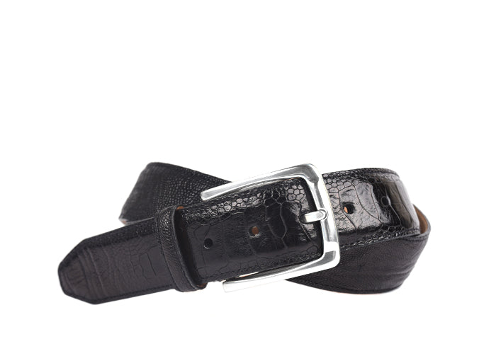 Sydney Genuine Ostrich Leg Belt - Black