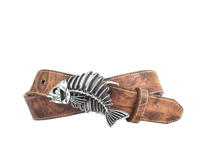 Islamorada Gian Crocodile-Grain Leather Belt - Chestnut