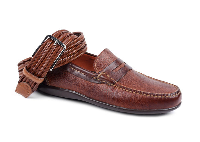 Saxon II Scotch Grain Leather Penny Loafer - Luggage