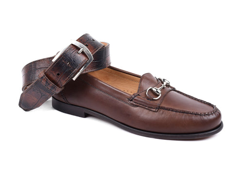Saxon Calf Leather Horse Bit Dress Loafer - Chocolate