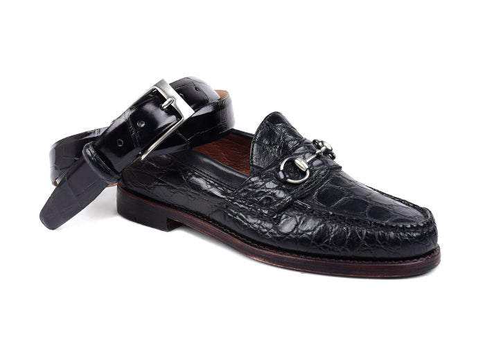 Jacob Genuine American Alligator Horse Bit Loafer - Antique Black