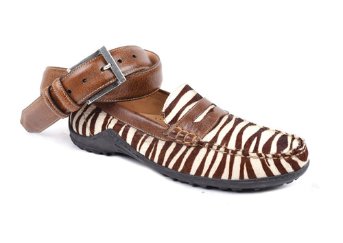 "Bill ""Hair On"" Leather Penny Loafer - Brown Zebra"