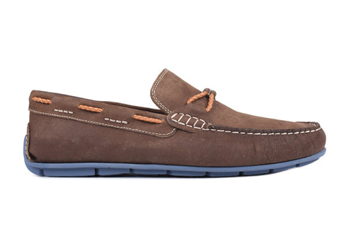 Bermuda Denim Nubuck Braided Leather Bit and Collar Lacing Loafer - Bark