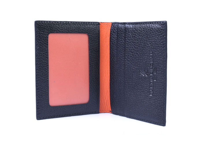 Anthony Hand Stained Alligator Grain I.D. Wallet - Black