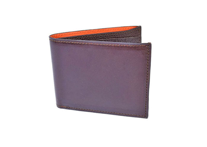 Edward Glazed Saddle Leather Billfold - Chocolate