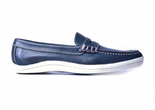Riviera Tumbled Glove Leather Penny Loafer - Navy