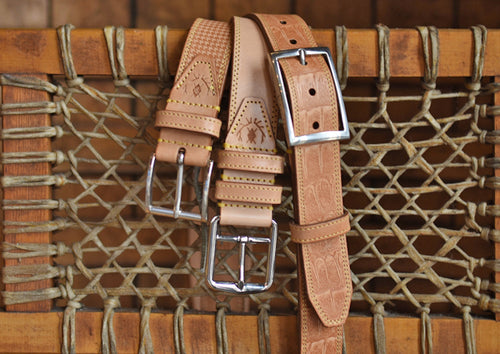 Equestrian Saddle Leather Belt - Natural Houndstooth