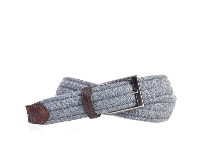 Marcus Woven Italian Wool Elastic Belt - Grey