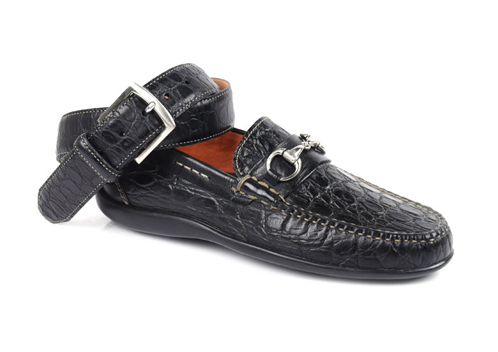 Saxon II Crocodile Grain Leather Horse Bit Loafer - Black
