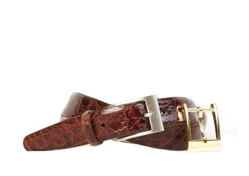 Delaney 2 Buckle Authentic Crocodile Belt