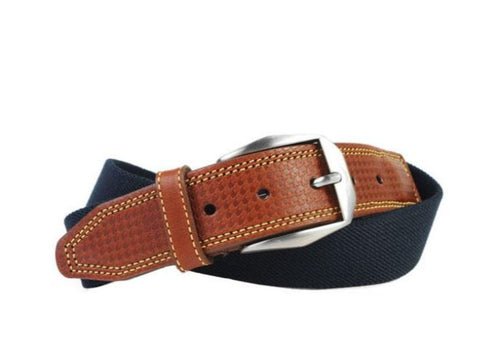 Berwick Cotton Houndstooth Bridle Leather Tab Belt - Navy