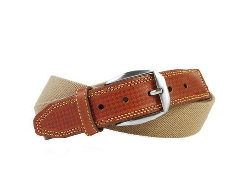 Berwick Cotton Houndstooth Bridle Leather Tab Belt - Khaki