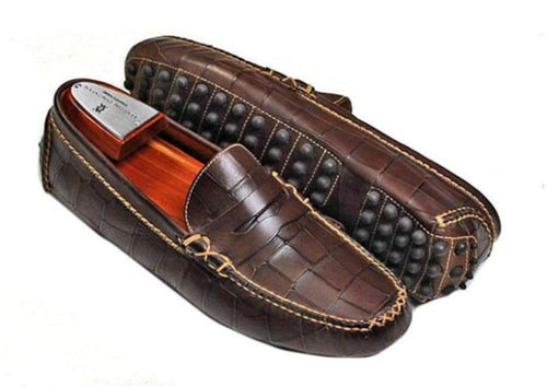 Peyton Waxy Alligator Grain Penny Driving Loafer