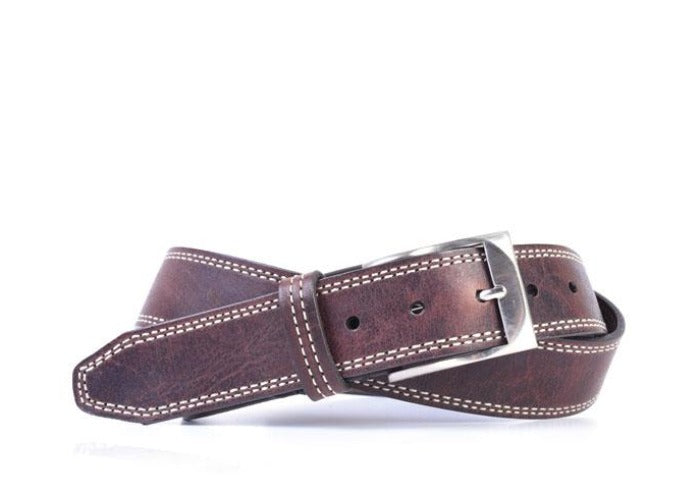Amory Italian Leather Belt - Walnut