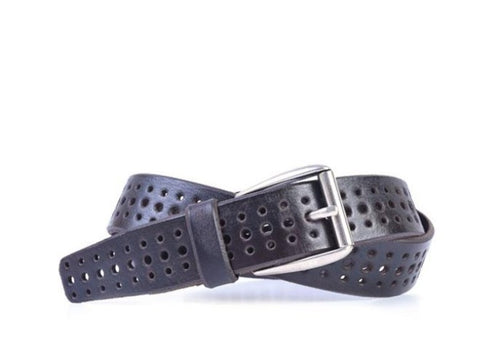 Artisan Perforated Italian Bridle Leather Tab Belt - Walnut