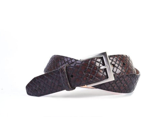 Carlson Basket Grain Italian Leather Belt - Walnut
