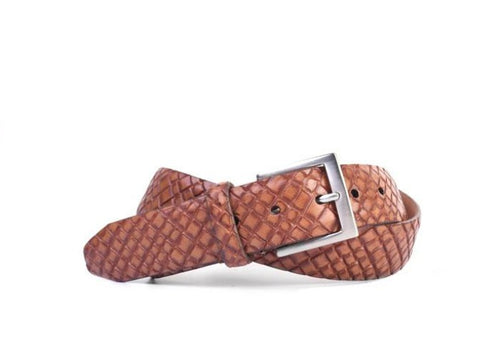 Carlson Basket Grain Italian Leather Belt - Chestnut
