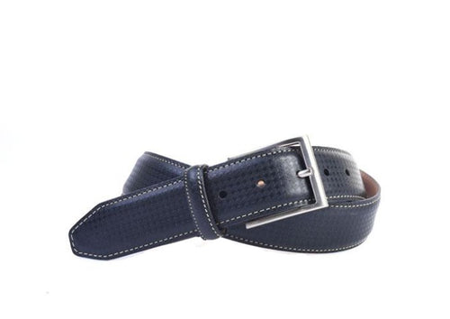 Clayton Houndstooth Debossed Italian Leather Belt - Black